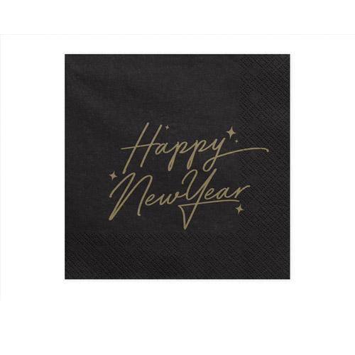 Sorte Happy New Year Servietter