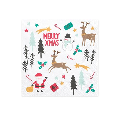Hvite Servietter med julemotiv