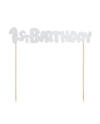 1st Birthday Kaketopp i Sølv
