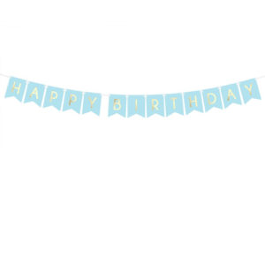 Lys Blå Happy Birthday Vimpelrekke