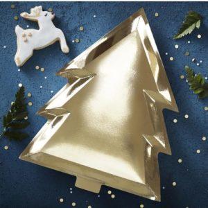 Gullfolierte Juletretallerkener