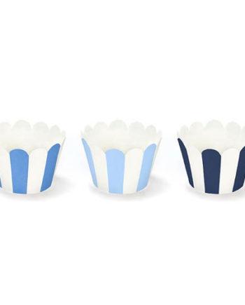 Blå og hvite Cupcake Wrappers