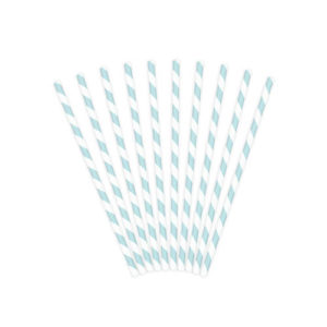 Blå og hvitstripete sugerør