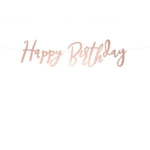 Rose Gold Happy Birthday Vimpelrekke