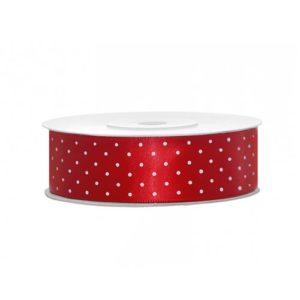 Rødt Sateng Dekorbånd med prikker 25 mm