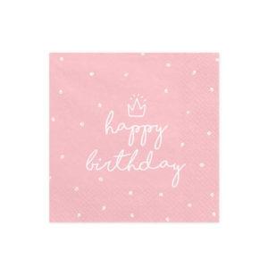 Rosa Happy Birthday Servietter