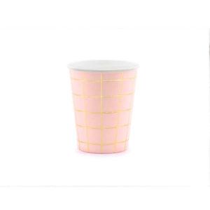 Rosa kopper med gullrute mønster