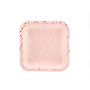 Rosa Tallerkener med gullrute mønster