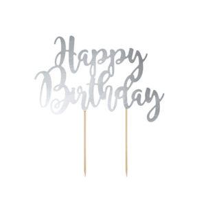 Kaketopp Happy Birthday Sølv