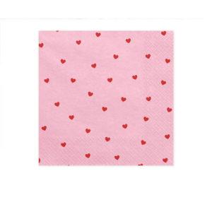 Rosa Servietter med rød hjerter