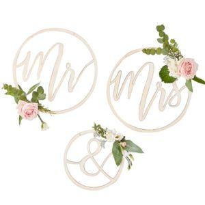 Mr & Mrs dekorringer i tre