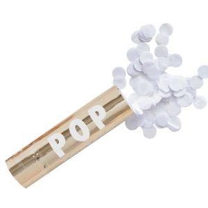 Confettikanon med hvit confetti