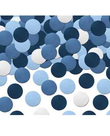 Blå og hvit konfetti