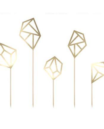 Diamant kaketopper i gull