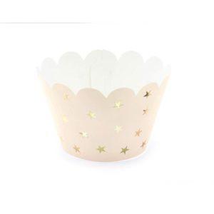 Cupcake Wrappers peach med gullstjerner