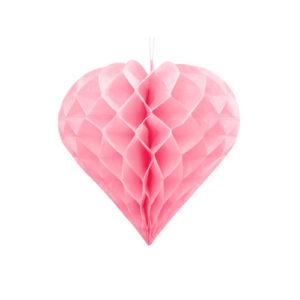 Honeycomb Hjerte Rosa 30 cm
