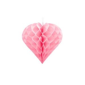 Honeycomb Hjerte Rosa 20 cm