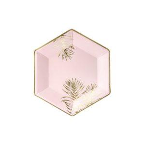 Rosa Tallerkener med gullblader