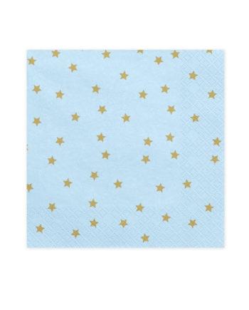 Blå servietter med gullstjerner