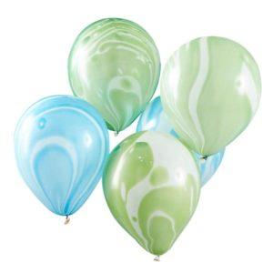 Grønne og Blå Marble ballonger