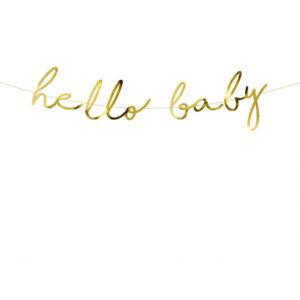 Hello Baby Banner i Gull