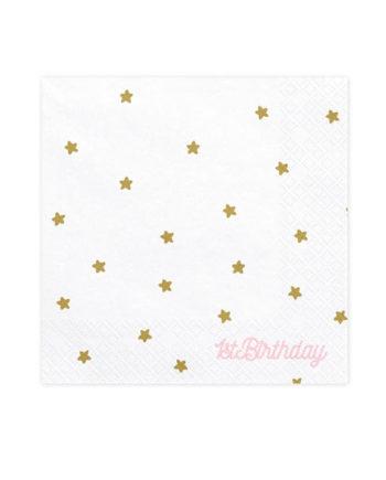 1 årsdag Servietter med gullstjerner