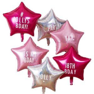 Bursdagsballonger med valgfri tekst