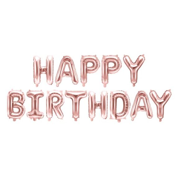 Happy Birthday Ballongrekke Rose Gold