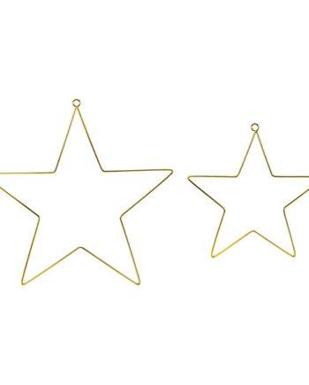 Metallstjerner Gull 2 stk