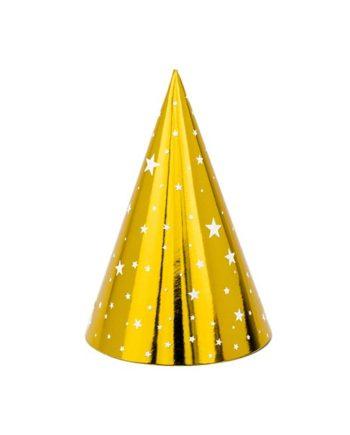 Partyhatter Gull med stjerner