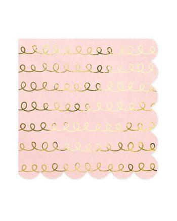 Dus rosa servietter med gullmønster