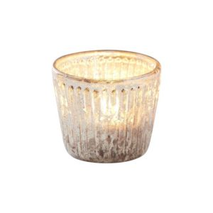 Telysholder Gold Ribbed Frosted Glass