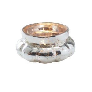 Telysholder Silver Frosted Glass