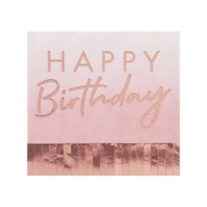 Servietter Happy Birthday med frynser