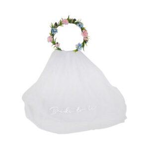 Bride to Be slør med blomsterkrans